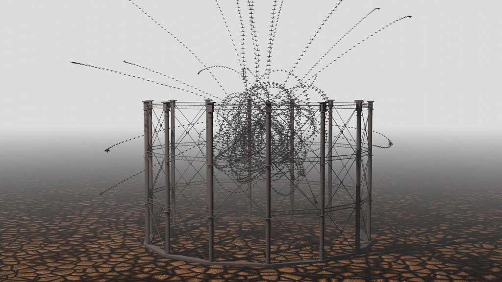 A World Without Us Revisted: Algorithmic Birds flying around a Gasometer by Alex May